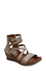 Women's Miz Mooz 'Shay' Wedge Sandal Stone Leather