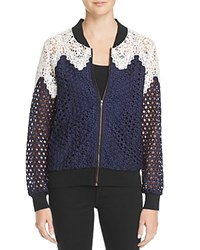 Lucy Paris Lace Paneled Bomber Jacket 100 Bloomingdale's Exclusive Navy