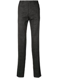 Pt01 Houndstooth Straight Leg Trousers Grey