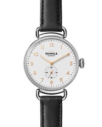 Shinola 38Mm Canfield Watch With Diamonds Black
