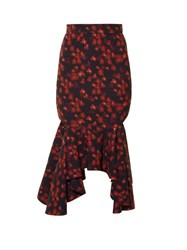 Givenchy Floral Print Asymmetric Hem Cady Skirt Red Multi