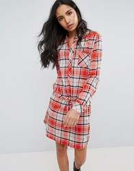 Pepe Jeans Madison Checked Shirt Dress Red