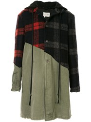 Greg Lauren Contrast Panel Checked Coat 60