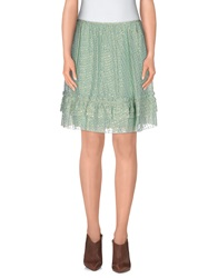 Galliano Knee Length Skirts Light Green