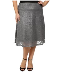 Kiyonna Shimmer Circle Skirt Silver Sparkle Women's Skirt