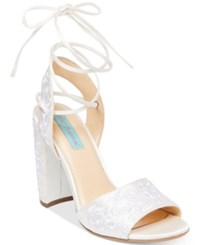 Blue By Betsey Johnson Raine Embroidered Lace Up Evening Sandals Women's Shoes Ivory