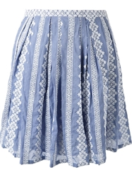 Band Of Outsiders Embroidered Pleated Skirt Blue