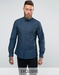 Noose And Monkey Skinny Shirt In Dogstooth Teal Blue