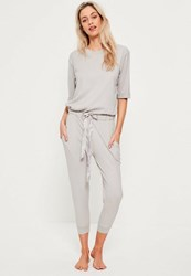 Missguided Grey Ribbed Slouch Lounge Jumpsuit