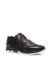 Lanvin Polyester And Sporty Mesh Running Sneaker In Blue Metallics