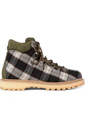 Diemme Roccia Suede Trimmed Checked Wool Ankle Boots Green