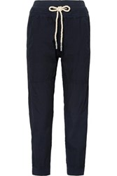 Bassike Jersey Trimmed Cotton Poplin Track Pants Navy