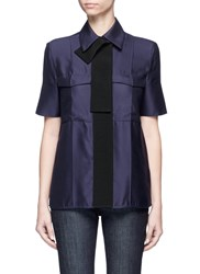 Victoria Beckham Ribbon Trim Short Sleeve Blouse Blue