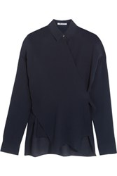 Alexander Wang T By Silk Georgette Wrap Blouse Midnight Blue