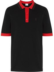 Burberry Monogram Motif Tipped Cotton Polo Shirt Black