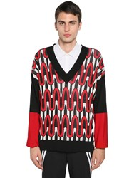 Neil Barrett Viscose And Nylon Jacquard Knit Sweater Black