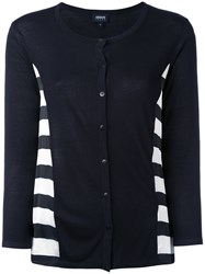 Armani Jeans Striped Cardigan Women Polyester Viscose 46 Blue