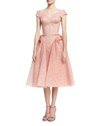 Zac Posen Off The Shoulder Floral Embroidered Organza Cocktail Dress Coral