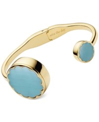 Kate Spade New York Women's Gold Tone Stainless Steel Hinge Half Bangle Bracelet Activity Tracker 26Mm Ksa31215 Blue