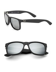 Ray Ban Justin Flash Lens Square Sunglasses Grey