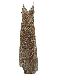 Raey Dip Hem Snake Print Sheer Silk Slip Dress Multi