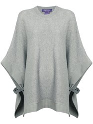 Ralph Lauren Collection Buckle Detail Knitted Poncho Grey