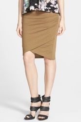 Leith Ruched Body Con Skirt Juniors Brown