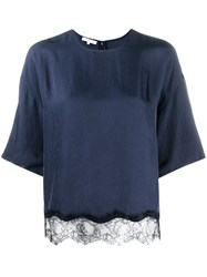 Vince Lace Hem Blouse Blue