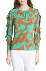 Tracy Reese Frilled Floral Stretch Silk Top Acorn Jade