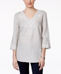 Charter Club Embroidered Linen Tunic Only At Macy's Zephyr