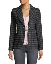 Smythe Check Two Button Blazer With Patch Pockets Gray Black