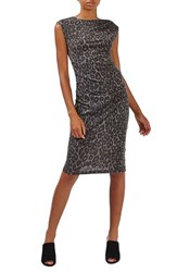 Topshop Women's Leopard Print Midi Dress