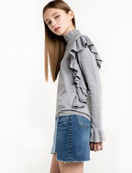 Pixie Market Mercer Grey Ruffled Sweater