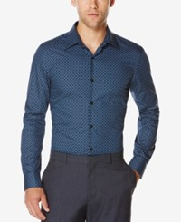 Perry Ellis Men's Geo Print Long Sleeve Shirt Ensign Blue