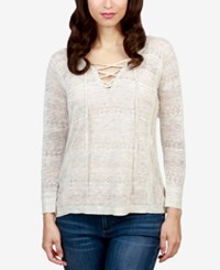 Lucky Brand Pointelle Striped Lace Up Top Natural