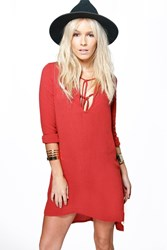 Boohoo Jane Lace Up Detail Woven Smock Dress Rust
