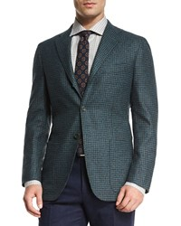 Kiton Cashmere Blend Check Sport Coat Teal Navy