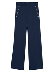 Mango Buttoned Flared Trousers Navy