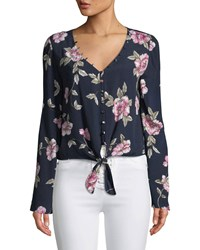 Cupcakes And Cashmere Jerome Floral Button Front Top Navy