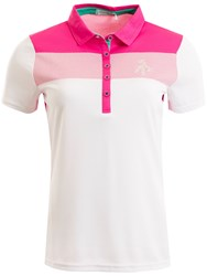 Green Lamb Fifi Chest Panel Mesh Dot Polo Pink