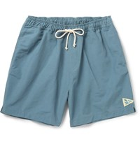 Mollusk Mid Length Cotton Blend Faille Swim Shorts Navy