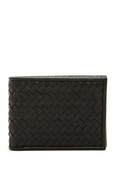 Cole Haan Leather Woven Slim Bifold Wallet Black