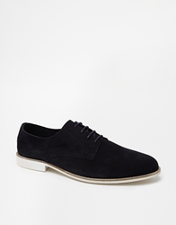 Asos Derby Shoes In Unlined Suede Navy