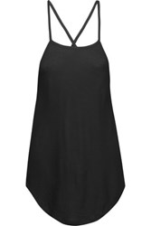Haute Hippie Draped Open Back Modal And Crepe Top Black