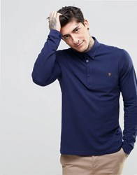 Farah Polo Shirt With Long Sleeves In Slim Fit Navy Navy