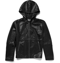 Mcq By Alexander Mcqueen Hooded Leather Jacket Black