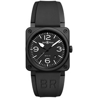 Bell And Ross Br0392 Bl Ce Men's Rubber Strap Watch Black