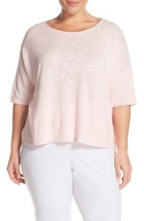 Plus Size Women's Eileen Fisher Organic Linen And Cotton Ballet Neck Sweater Cameo