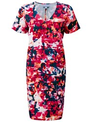 Pure Collection Sam Silk Linen Dress Pink Abstract Print