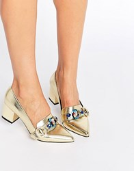 Asos Smokie Embellished Heeled Loafers Gold